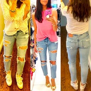 Distressed @moussyvintage skinny jeans, 26
